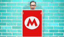 Nintendo Red M For Mario - Wall Art Print Poster